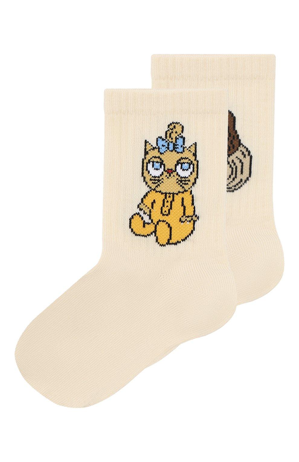 Детские носки MINI RODINI белого цвета, арт. 20260121 | Фото 1
