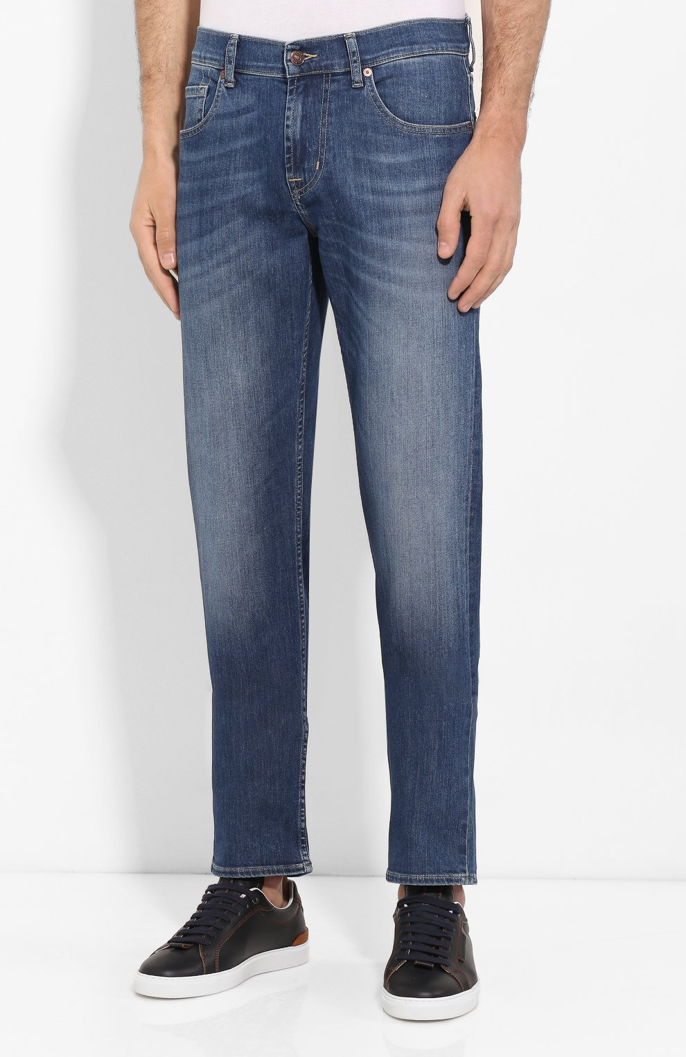 Мужские джинсы 7 FOR ALL MANKIND синего цвета, арт. JSMSU250MX   Фото 3