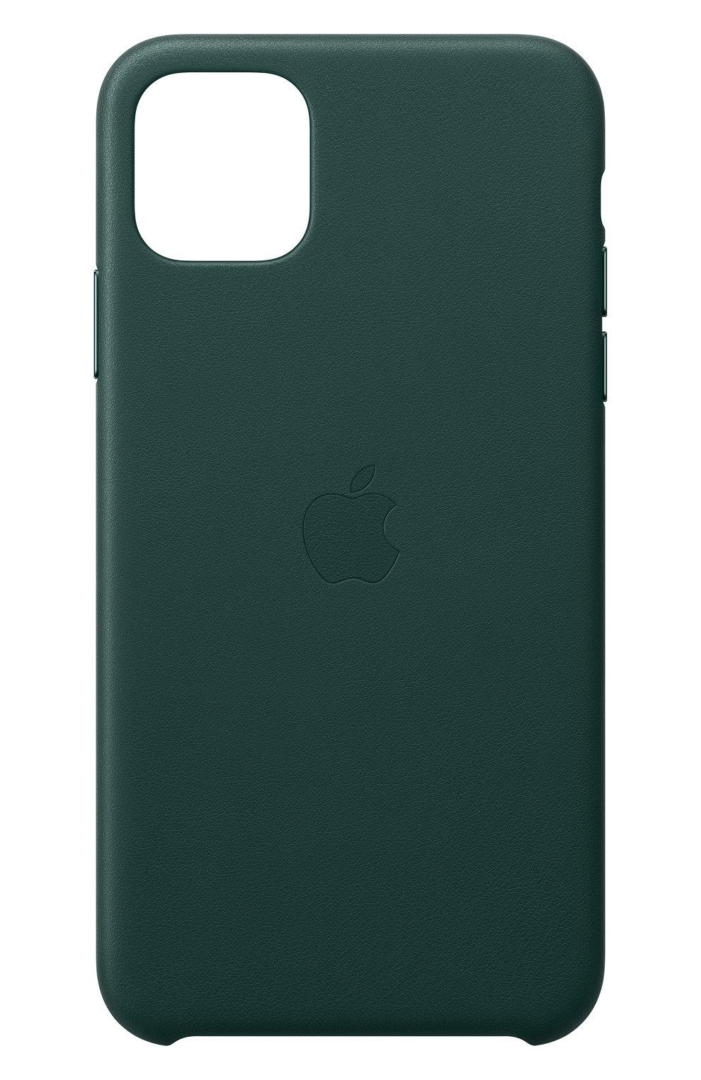 Кожаный чехол для iphone 11 pro max APPLE  темно-зеленого цвета, арт. MX0C2ZM/A | Фото 1