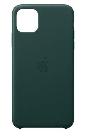 Мужской кожаный чехол для iphone 11 pro max APPLE  темно-зеленого цвета, арт. MX0C2ZM/A | Фото 1