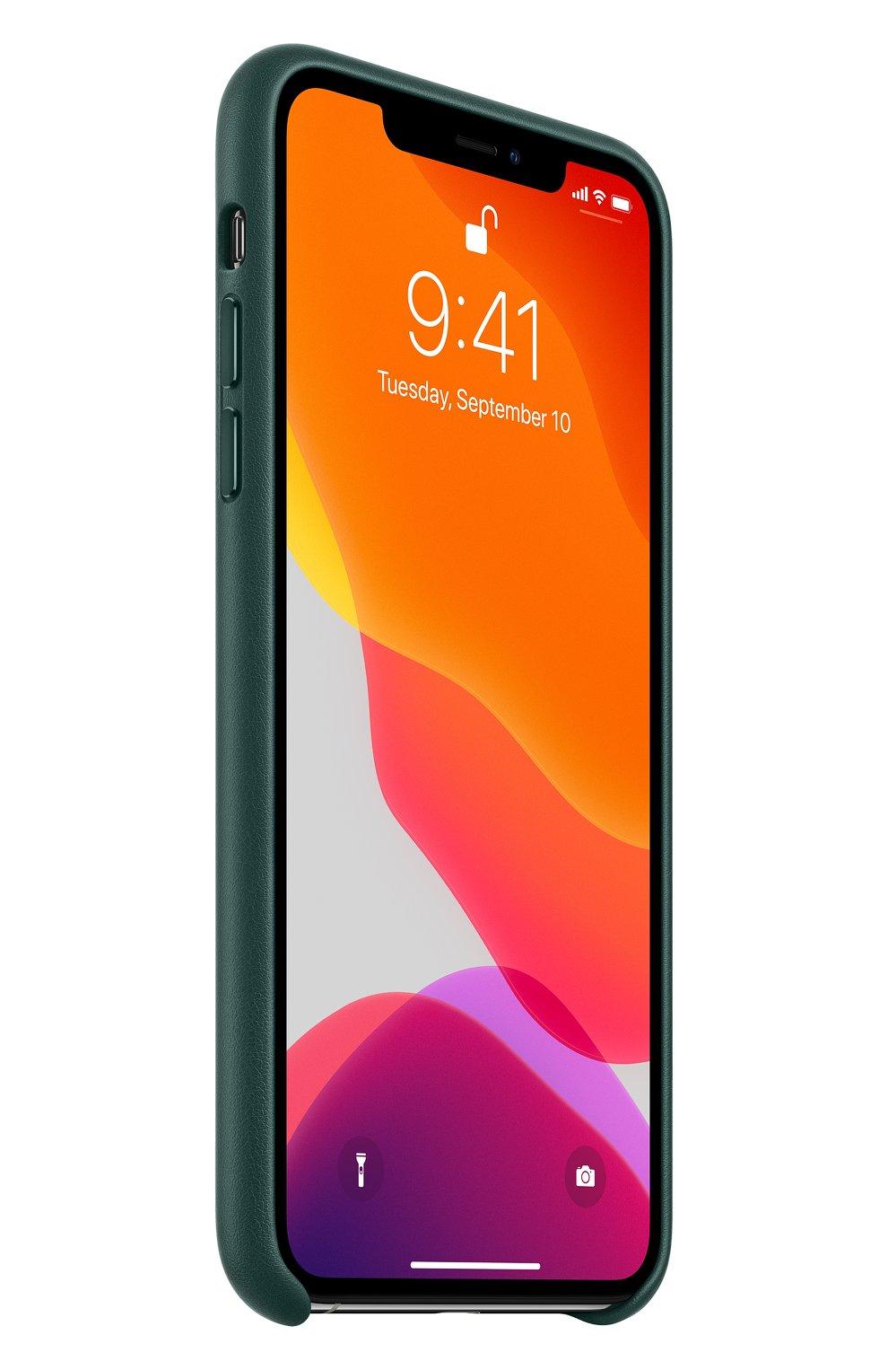 Кожаный чехол для iphone 11 pro max APPLE  темно-зеленого цвета, арт. MX0C2ZM/A | Фото 2