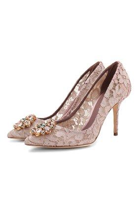 Женские текстильные туфли rainbow lace DOLCE & GABBANA розового цвета, арт. 0112/CD0101/AL198 | Фото 1