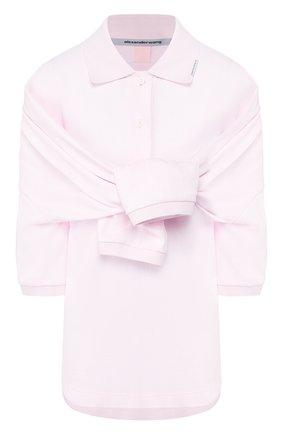 Женское хлопковое поло ALEXANDER WANG розового цвета, арт. 1CC1201316 | Фото 1