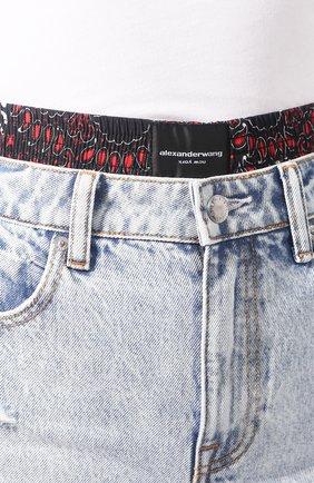 Женские джинсовые шоры ALEXANDERWANG.T голубого цвета, арт. 4DC1204574 | Фото 5 (Женское Кросс-КТ: Шорты-одежда; Кросс-КТ: Деним; Длина Ж (юбки, платья, шорты): Мини; Материал внешний: Хлопок; Материал подклада: Шелк; Стили: Кэжуэл)