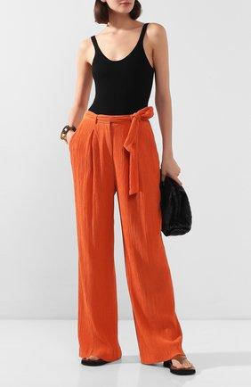 Женские брюки из смеси хлопка и шелка GABRIELA HEARST оранжевого цвета, арт. 220202/T025/42   Фото 2