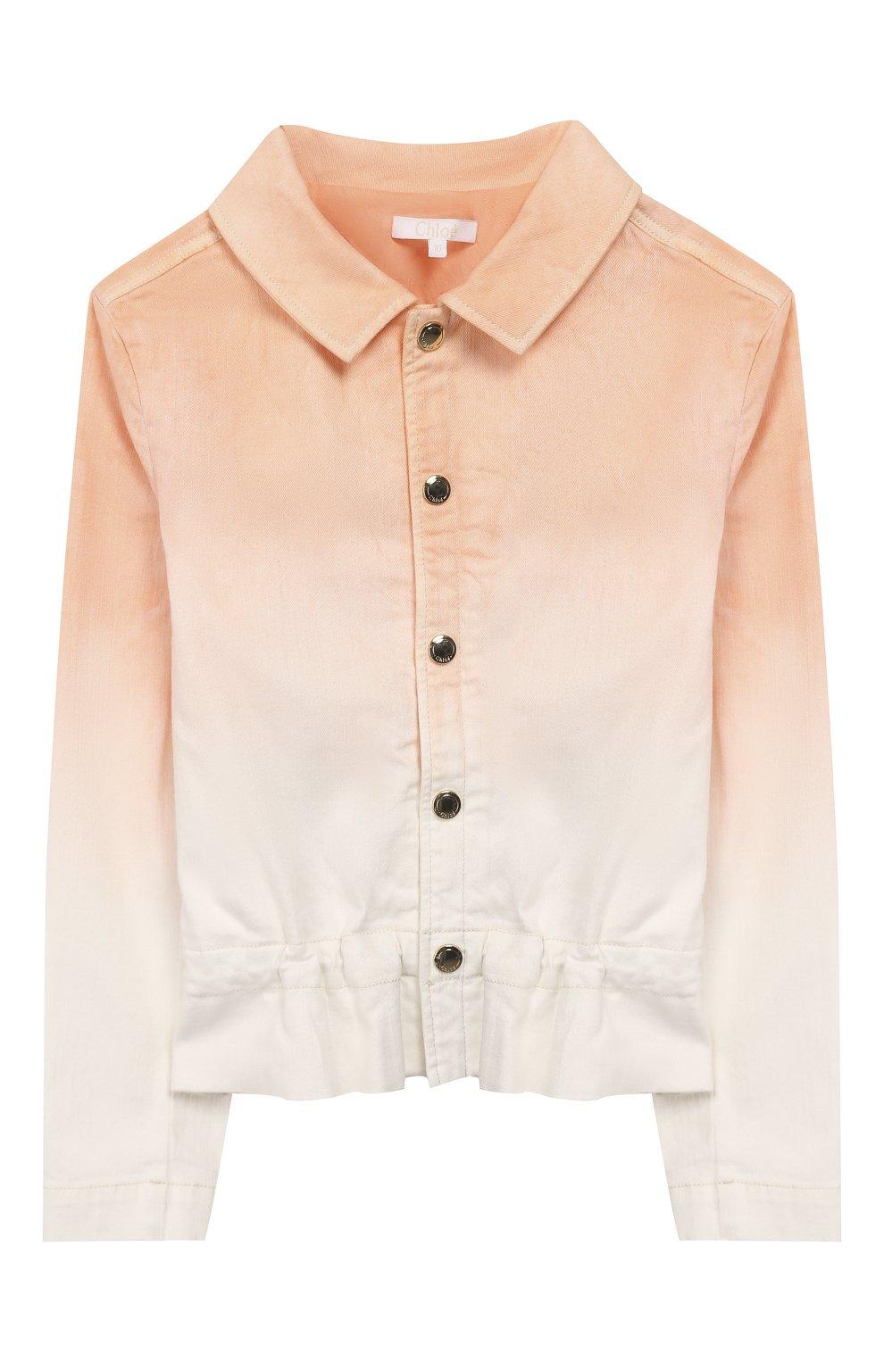 Детская джинсовая куртка CHLOÉ оранжевого цвета, арт. C16358   Фото 1