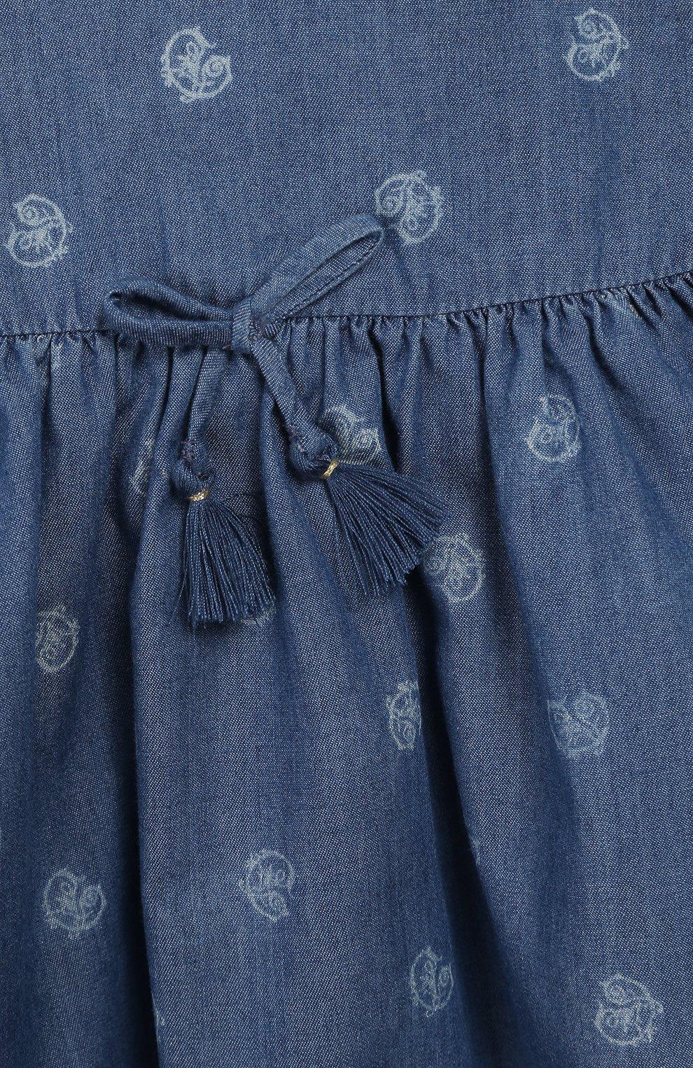 Детский хлопковый топ CHLOÉ голубого цвета, арт. C05339 | Фото 3