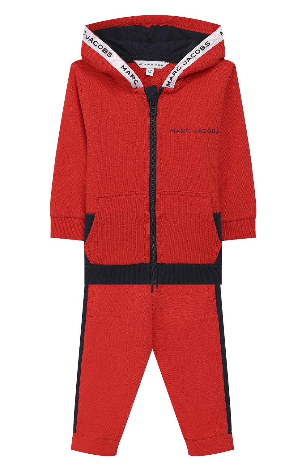 Детский комплект из кардигана и брюк MARC JACOBS (THE) красного цвета, арт. W08070   Фото 1