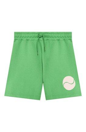 Детские хлопковые шорты MINI RODINI зеленого цвета, арт. 20230145 | Фото 1