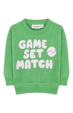 Детский хлопковый свитшот MINI RODINI зеленого цвета, арт. 20220153 | Фото 1