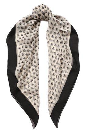 Женский шелковый платок GIORGIO ARMANI черно-белого цвета, арт. 795307/0A125 | Фото 1