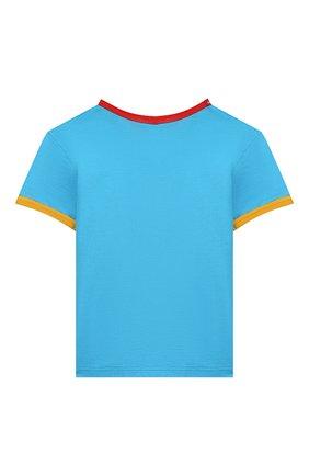 Детская хлопковая футболка DOLCE & GABBANA голубого цвета, арт. L4JTBD/G7V00/2-6   Фото 2