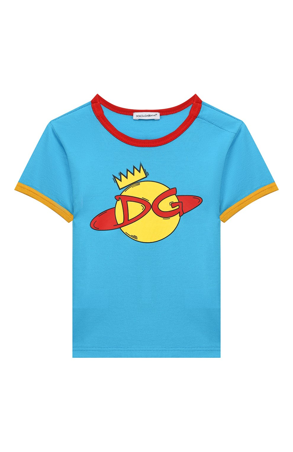 Детский хлопковая футболка DOLCE & GABBANA голубого цвета, арт. L1JTBC/G7V00   Фото 1
