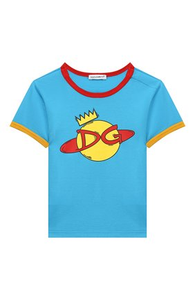 Детский хлопковая футболка DOLCE & GABBANA голубого цвета, арт. L1JTBC/G7V00 | Фото 1
