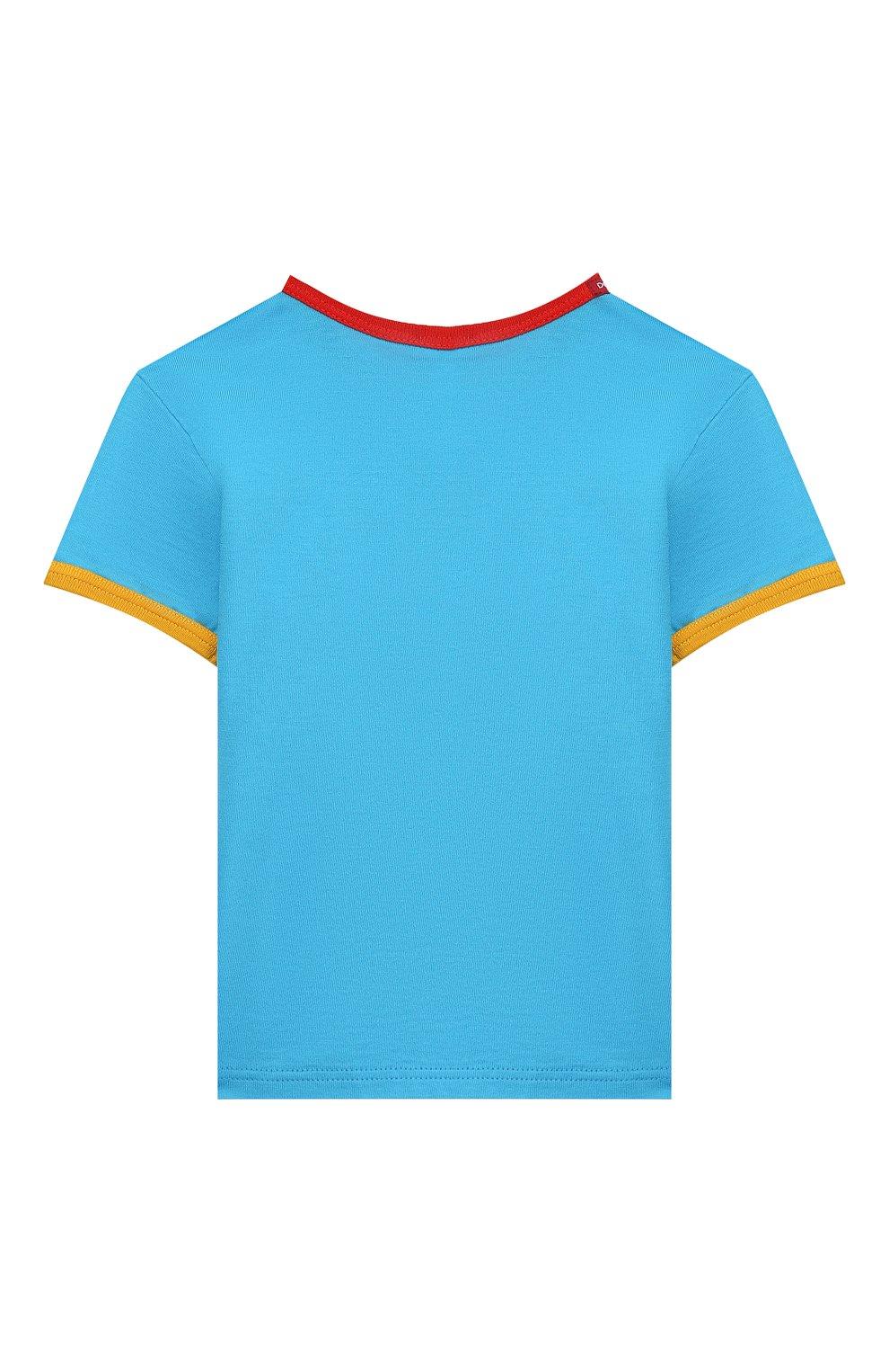 Детский хлопковая футболка DOLCE & GABBANA голубого цвета, арт. L1JTBC/G7V00   Фото 2