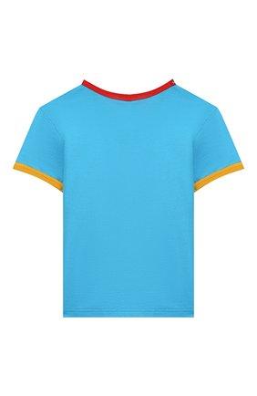 Детский хлопковая футболка DOLCE & GABBANA голубого цвета, арт. L1JTBC/G7V00 | Фото 2