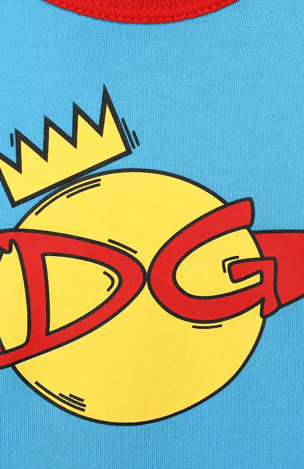 Детский хлопковая футболка DOLCE & GABBANA голубого цвета, арт. L1JTBC/G7V00   Фото 3