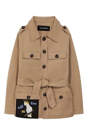 Детского куртка DOLCE & GABBANA бежевого цвета, арт. L41E73/LT365/8-14 | Фото 1