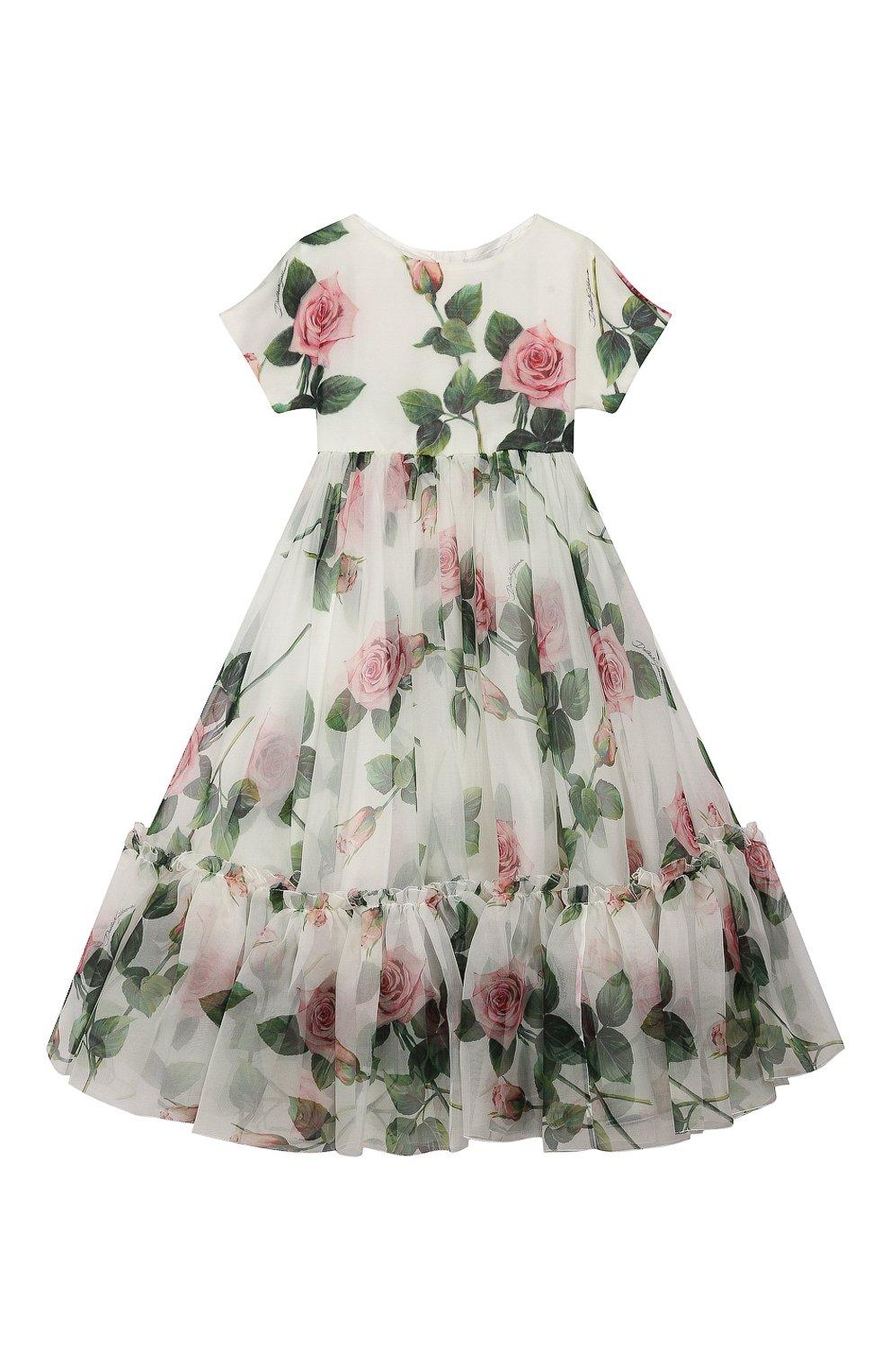 Детское шелковое платье DOLCE & GABBANA белого цвета, арт. L52DC3/IS1BD/2-6 | Фото 1 (Материал внешний: Шелк; Рукава: Короткие; Случай: Повседневный; Материал подклада: Вискоза; Ростовка одежда: 2 года | 92 см, 6 лет | 116 см)