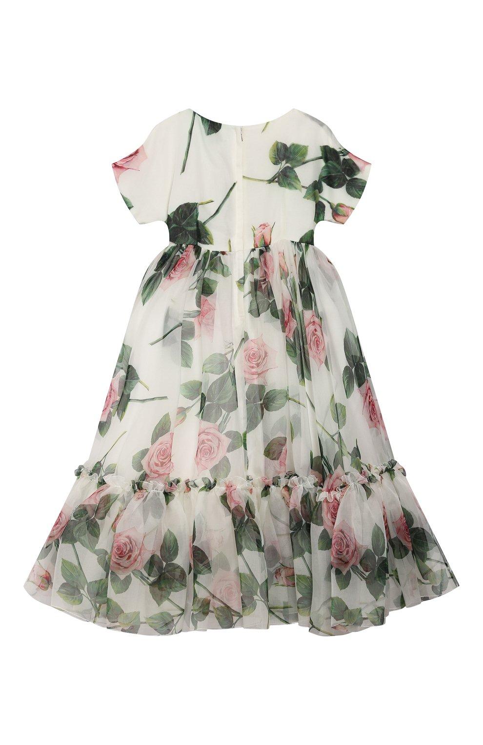 Детское шелковое платье DOLCE & GABBANA белого цвета, арт. L52DC3/IS1BD/2-6 | Фото 2 (Материал внешний: Шелк; Рукава: Короткие; Случай: Повседневный; Материал подклада: Вискоза; Ростовка одежда: 2 года | 92 см, 6 лет | 116 см)