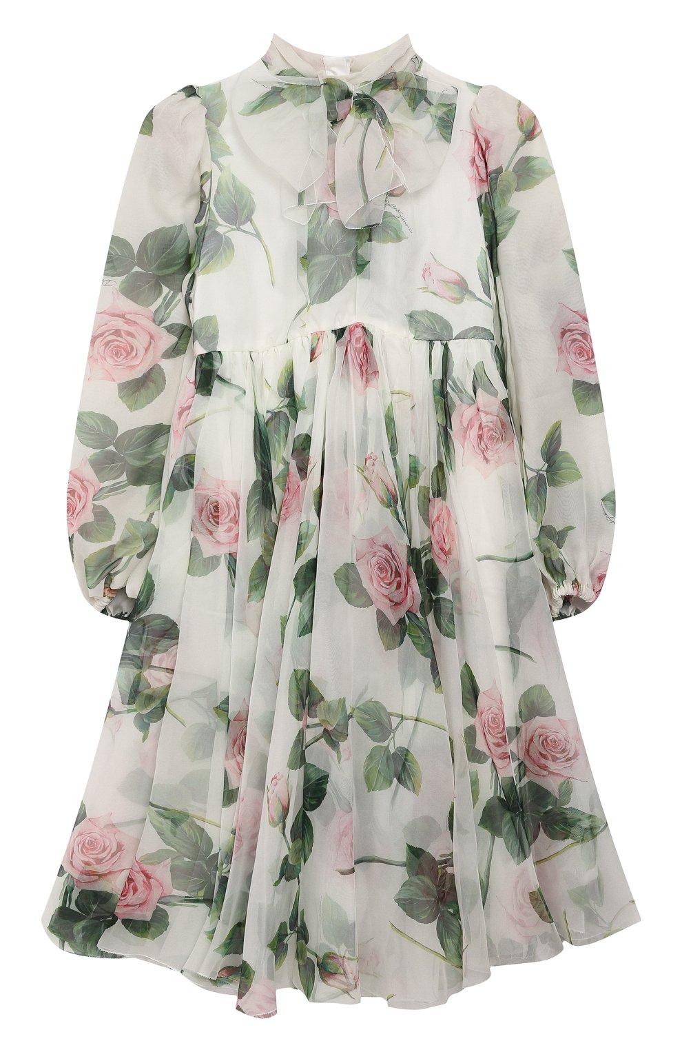 Детское шелковое платье DOLCE & GABBANA белого цвета, арт. L52DC6/IS1BC/8-14 | Фото 1 (Материал внешний: Шелк; Рукава: Длинные; Случай: Повседневный; Девочки Кросс-КТ: Платье-одежда; Материал подклада: Вискоза)