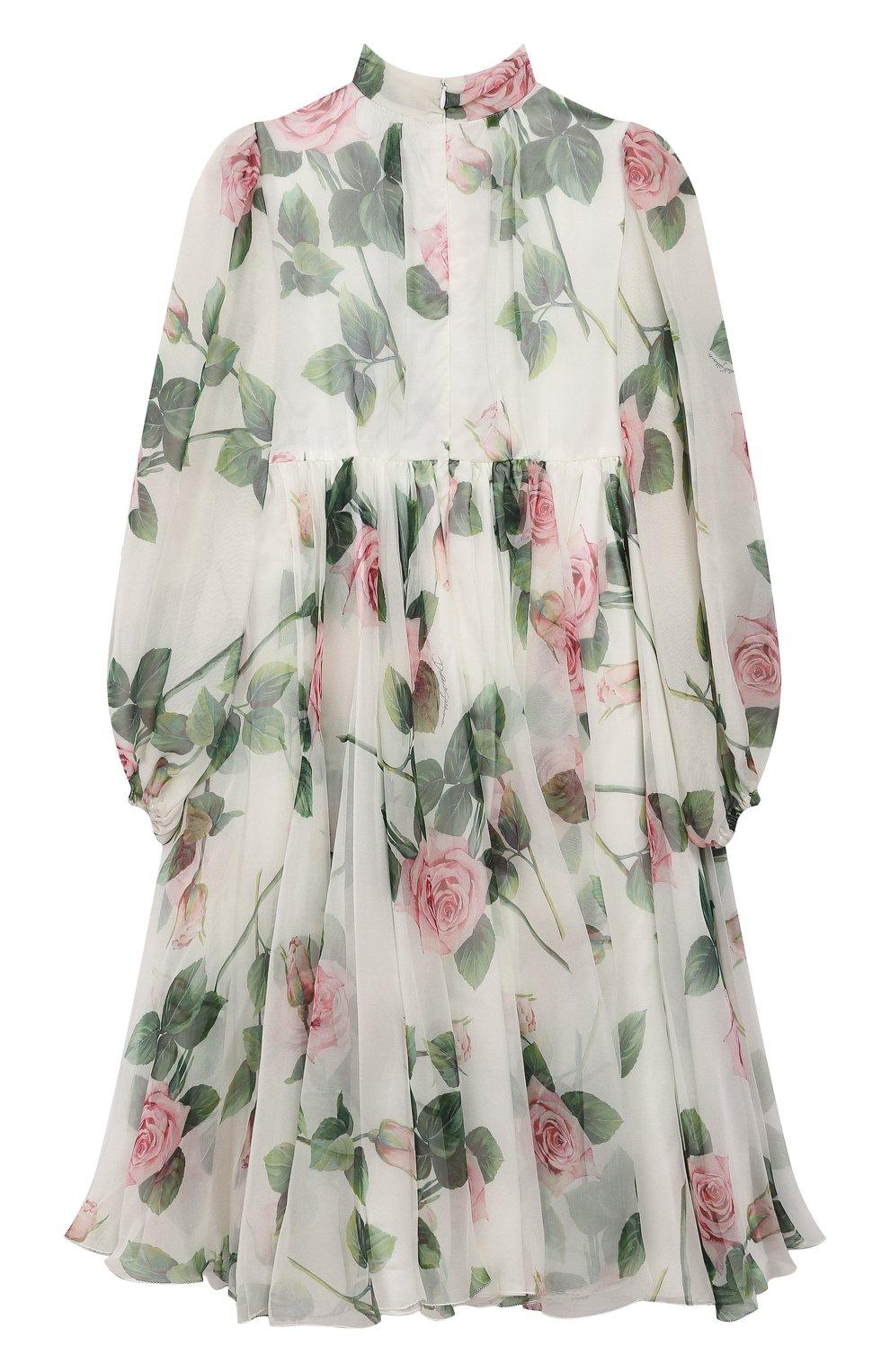 Детское шелковое платье DOLCE & GABBANA белого цвета, арт. L52DC6/IS1BC/8-14 | Фото 2 (Материал внешний: Шелк; Рукава: Длинные; Случай: Повседневный; Девочки Кросс-КТ: Платье-одежда; Материал подклада: Вискоза)