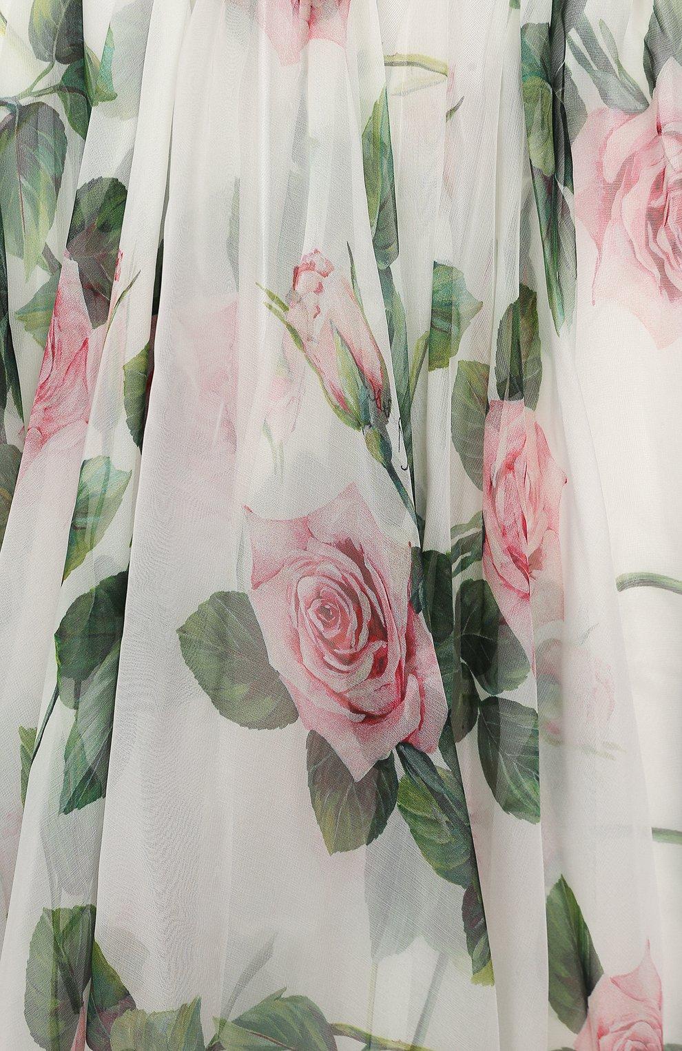 Детское шелковое платье DOLCE & GABBANA белого цвета, арт. L52DC6/IS1BC/8-14 | Фото 3 (Материал внешний: Шелк; Рукава: Длинные; Случай: Повседневный; Девочки Кросс-КТ: Платье-одежда; Материал подклада: Вискоза)