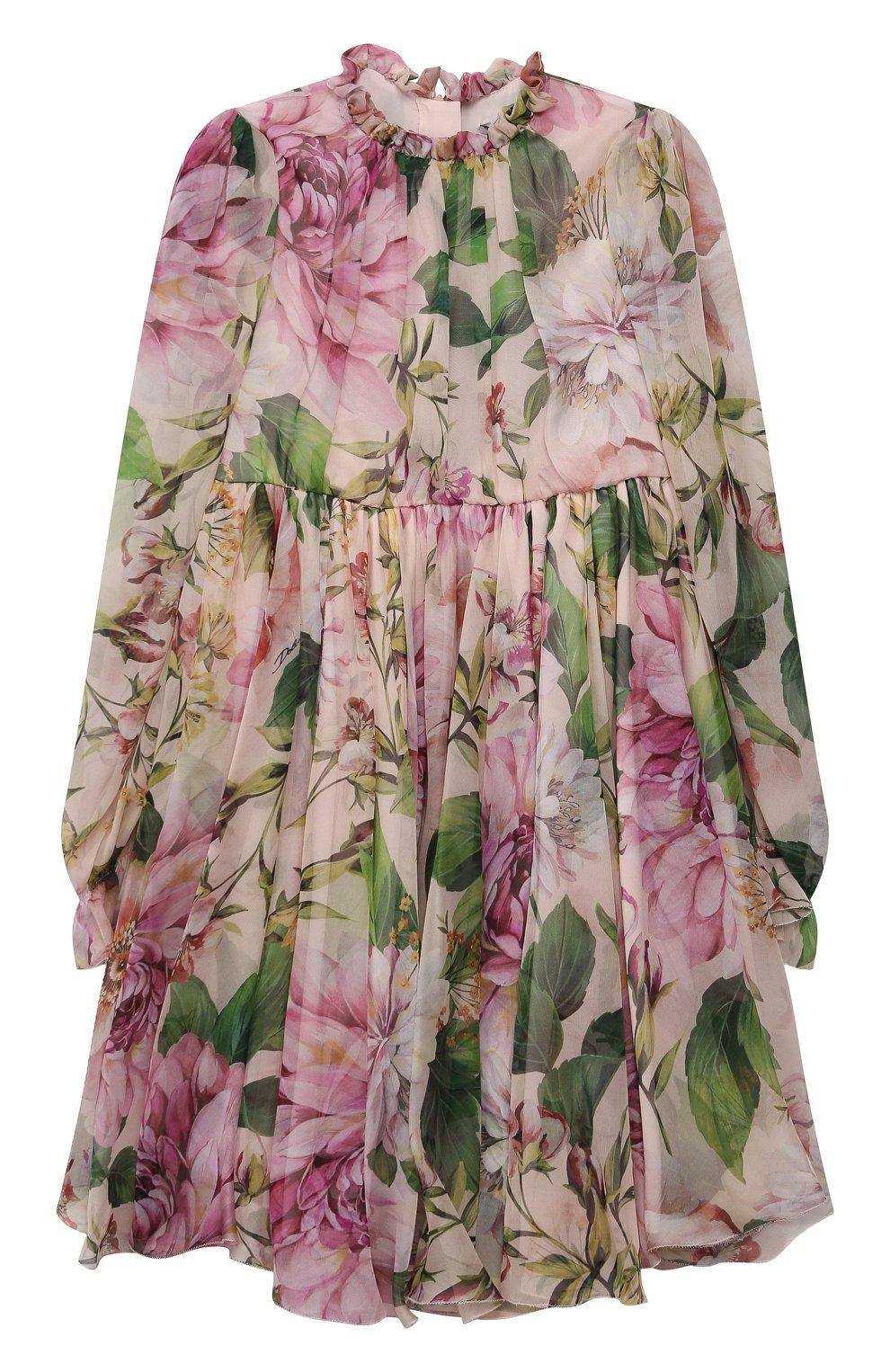 Детское шелковое платье DOLCE & GABBANA светло-розового цвета, арт. L52DE9/IS1AF/8-14   Фото 1 (Материал внешний: Шелк; Рукава: Длинные; Случай: Повседневный; Девочки Кросс-КТ: Платье-одежда; Материал подклада: Шелк)