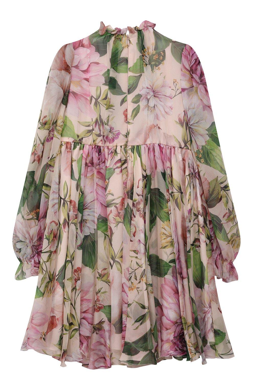 Детское шелковое платье DOLCE & GABBANA светло-розового цвета, арт. L52DE9/IS1AF/8-14   Фото 2 (Материал внешний: Шелк; Рукава: Длинные; Случай: Повседневный; Девочки Кросс-КТ: Платье-одежда; Материал подклада: Шелк)