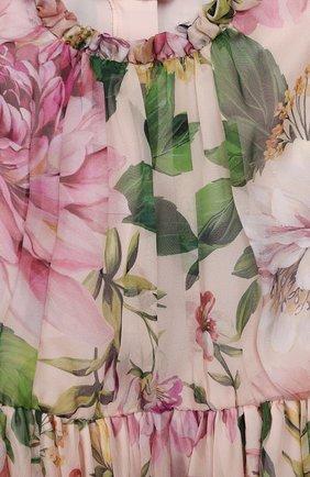 Детское шелковое платье DOLCE & GABBANA светло-розового цвета, арт. L52DE9/IS1AF/8-14   Фото 3 (Материал внешний: Шелк; Рукава: Длинные; Случай: Повседневный; Девочки Кросс-КТ: Платье-одежда; Материал подклада: Шелк)