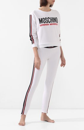 Женские хлопковые брюки MOSCHINO UNDERWEAR WOMAN белого цвета, арт. A4309/9012   Фото 2