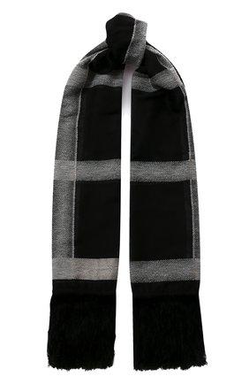 Мужские шерстяной шарф GIORGIO ARMANI черно-белого цвета, арт. 795209/0A126   Фото 1