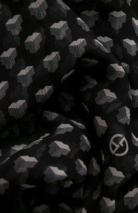 Женский шелковый платок GIORGIO ARMANI черно-белого цвета, арт. 795307/0A125 | Фото 2