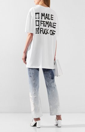 Женская хлопковая футболка VETEMENTS белого цвета, арт. UAH21TR512 1600/W   Фото 2