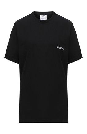 Женская хлопковая футболка VETEMENTS черного цвета, арт. UAH21TR501 1600/W   Фото 1