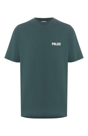 Мужская хлопковая футболка VETEMENTS зеленого цвета, арт. UAH21TR511 1600/M | Фото 1