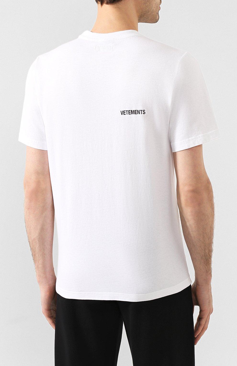 Мужская хлопковая футболка VETEMENTS белого цвета, арт. UAH21TR501 1600/M   Фото 4