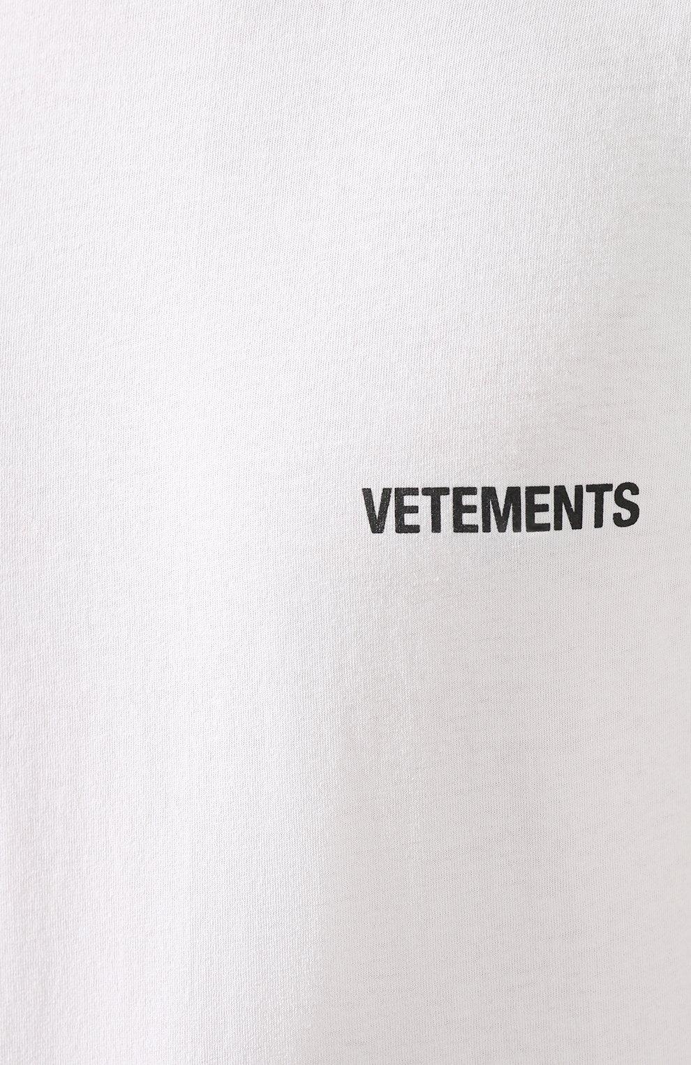 Мужская хлопковая футболка VETEMENTS белого цвета, арт. UAH21TR501 1600/M   Фото 5