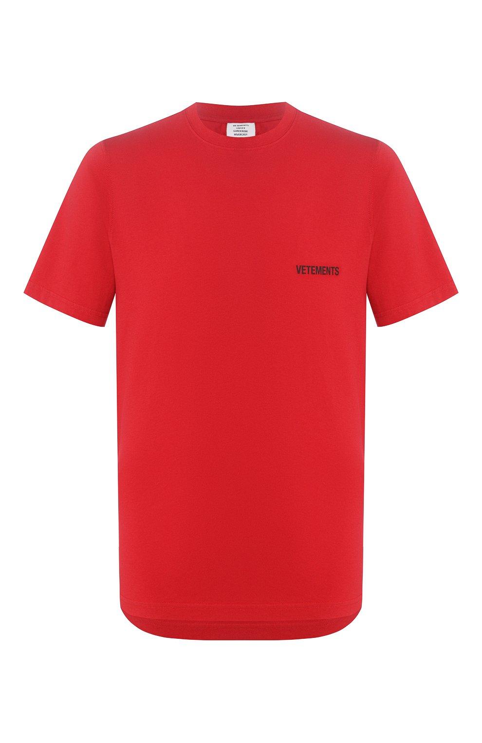 Мужская хлопковая футболка VETEMENTS красного цвета, арт. UAH21TR501 1600/M | Фото 1