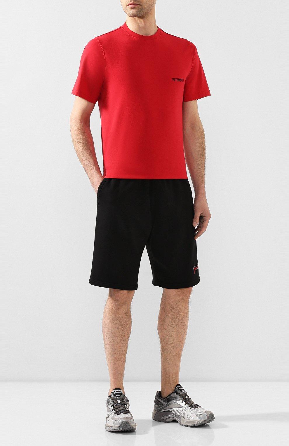 Мужская хлопковая футболка VETEMENTS красного цвета, арт. UAH21TR501 1600/M | Фото 2