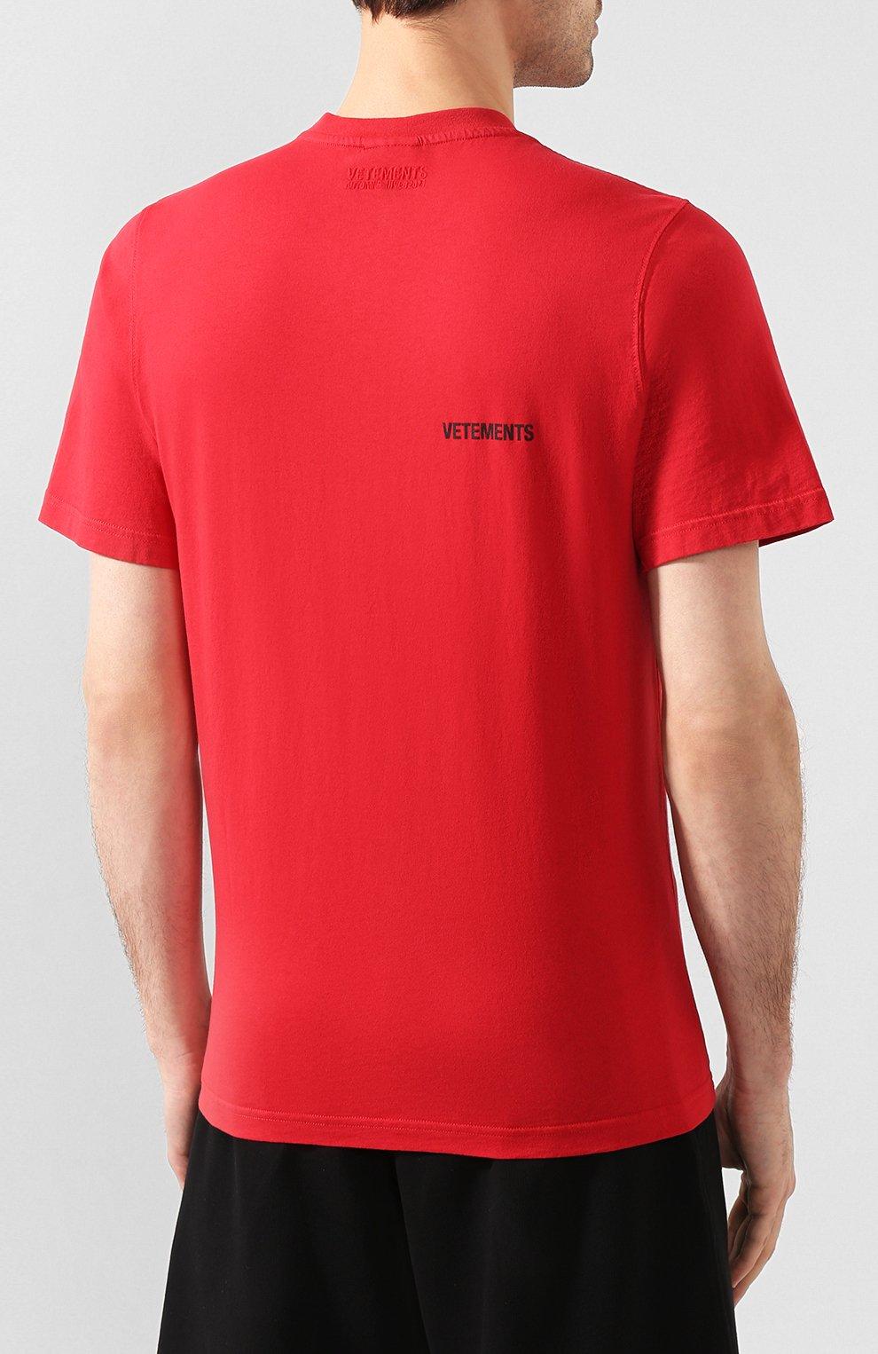 Мужская хлопковая футболка VETEMENTS красного цвета, арт. UAH21TR501 1600/M | Фото 4