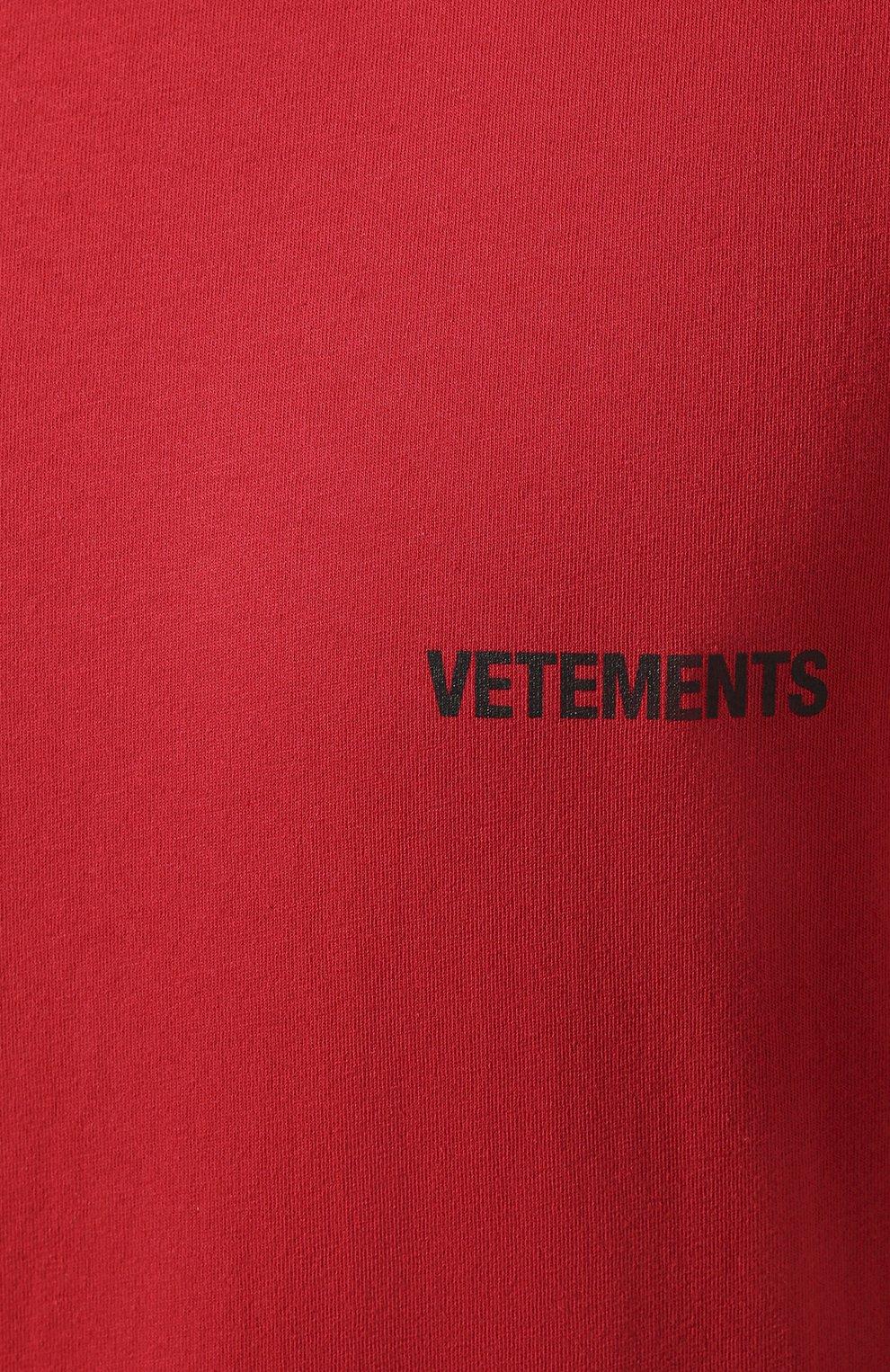 Мужская хлопковая футболка VETEMENTS красного цвета, арт. UAH21TR501 1600/M | Фото 5