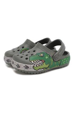 Детские сабо crocs fl dino ba CROCS зеленого цвета, арт. 206157-0DA | Фото 1