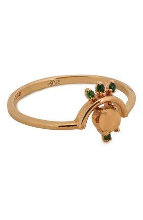 Женское  кольцо-дуга из золота с опалом и цаворитами MOONKA STUDIO золотого цвета, арт. op-hrr-tsv   Фото 1