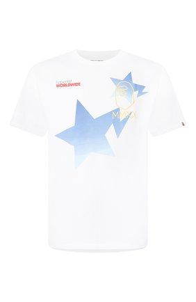 Мужская хлопковая футболка BAPE белого цвета, арт. 1G30110089   Фото 1