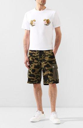 Мужская хлопковая футболка BAPE белого цвета, арт. 1G30110069 | Фото 2