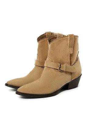 Женские замшевые ботинки west SAINT LAURENT бежевого цвета, арт. 630685/1NZ00 | Фото 1