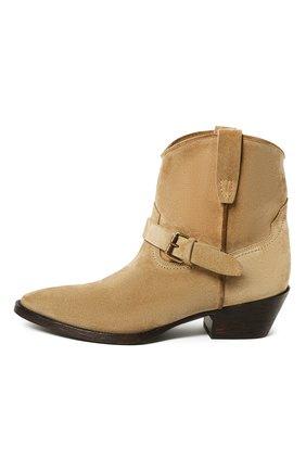 Женские замшевые ботинки west SAINT LAURENT бежевого цвета, арт. 630685/1NZ00 | Фото 2
