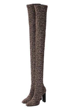 Женские текстильные ботфорты SAINT LAURENT разноцветного цвета, арт. 632489/10G00 | Фото 1