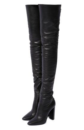 Женские кожаные ботфорты SAINT LAURENT черного цвета, арт. 632494/1Y801 | Фото 1
